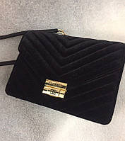 0bd5df704902 Стильная женская сумка реплика CHANEL размеры 25*20 см, материал бархат.  Черный цвет