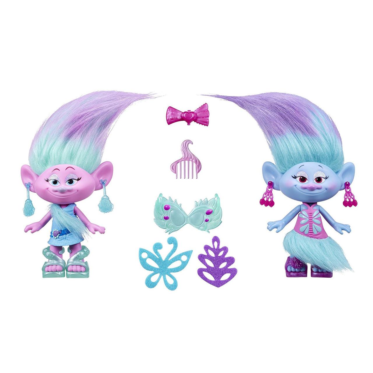 Игровой набор Тролли Модные близнецы Сатинка и Синелька 23см DreamWorks Trolls Satin and Chenille's