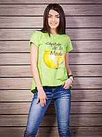 Нежная воздушная женская футболка с удлиненной интересной спинкой с разрезом