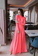 Платье в пол максис открытой спинкой неон малиновое  Широкая цветовая палитра