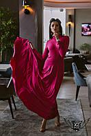 Платье в пол максис открытой спинкой бордовое темно-малиновое Широкая цветовая палитра