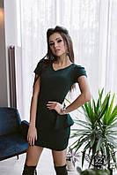 Мини-платье с воланом на талии и гипюром на спинке  бордо бордовое зеленое
