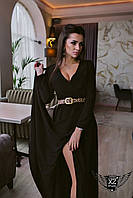 Вечернее платье в пол с вырезом на ноге черное, персиковое, ментоловое