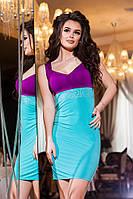 Женское мятное платье с фиолетовым верхом, украшенное  стразами . Арт-2186/57