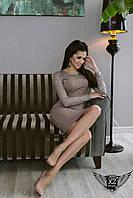 Облегающее платье по колено с гипюровыми вставками черное, ТЕмно-бежевое