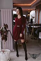 Мини-платье с поясом черное, красное, бордо
