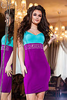 Женское фиолетовое  платье с мятным  верхом, украшенное  стразами . Арт-2186/57