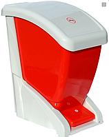 Мусорный бак с педалью 24 литра бело красный ведро
