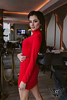 Мини-платье с воротником красное, белое, бордо