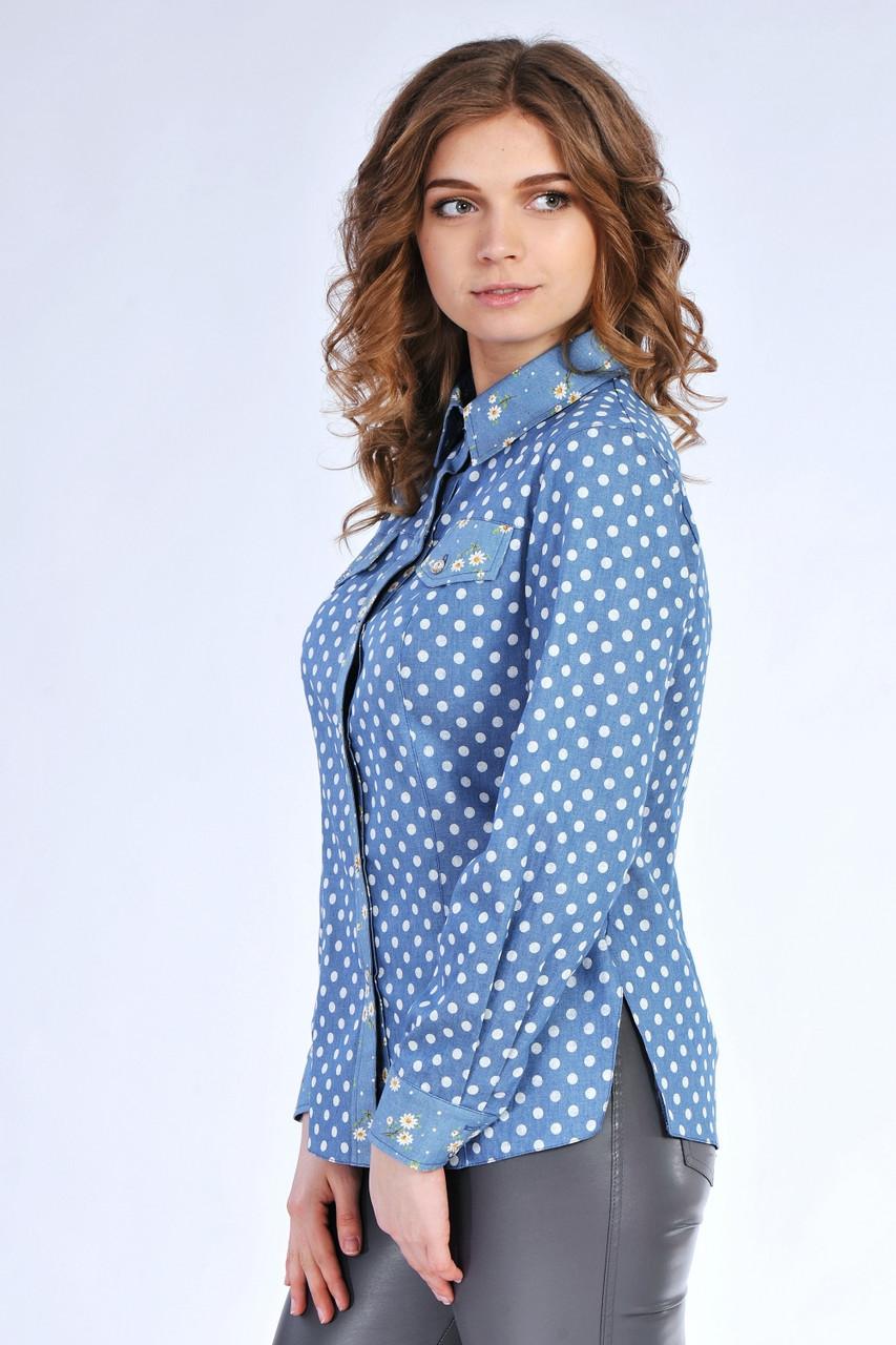 Джинсовая женская рубашка в горошек