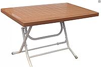 Стол Кокнар складной прямоугольный с металлическими ножками коричневый