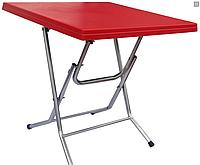 Стол складной квадратный с металлическими ножками красный