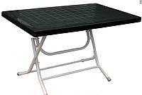 Стол складной прямоугольный с металлическими ножками зеленый