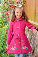Весеннее пальто из кашемира с вышивкой на девочку Рост 98-104 см