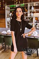 Платье-туника с короткими рукавами черное, зеленое