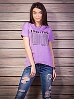Интересная женская футболка с удлиненной спинкой из хлопка