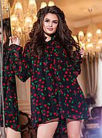 Модный черный женский шифоновый комбинезон, принт-красные вишни. Арт-2188/57