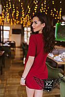 Платье-туника с короткими рукавами Бордо бордовое