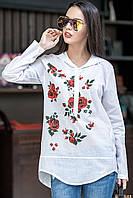 Женская рубашка с капюшоном и вышивкой Donna