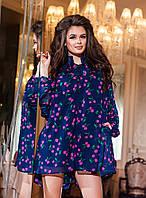 Модный синий  женский шифоновый комбинезон, принт- сиреневые  вишни. Арт-2188/57