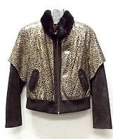 Кожаная женская куртка со сьемными рукавами РАЗМЕР+