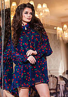 Модный синий  женский шифоновый комбинезон, принт- красные  вишни. Арт-2188/57