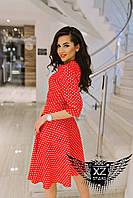 Платье по колено с рукавом три четверти черное, красное, синее