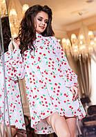 Модный белый  женский шифоновый комбинезон, принт- красные  вишни. Арт-2188/57