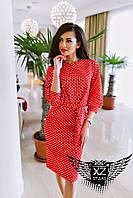 Приталенное платье в ромбик с поясом черное, красное, синее