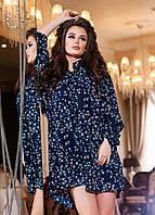 Модный  синий  женский шифоновый комбинезон, принт- мелкий цветок. Арт-2188/57