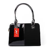 Черная лаковая сумка-портфель с замшевой вставкой