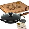 Сковорода чугунная литая 24*4см с деревянной ручкой со стекл. крышкой