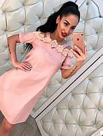 Элегантное женское платье материал коттон, сверху украшено кружевом. Цвет розовый