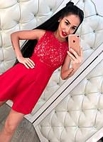 Элегантное женское платье с расклешенной юбкой, верх красивое кружево. Цвет красный