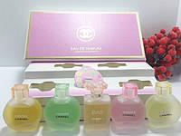 (9521) НАБОР ПАРФЮМОВ ( 5 шт по 5 мл ) CHANEL PARFUM ( розовая коробка,матовые флаконы, )