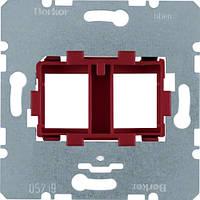 Опорна пластина для модульних роз'ємів з червоною вставкою, 2-кратна  (454101)
