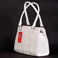 Белоснежная сумка женская деловая с текстурой