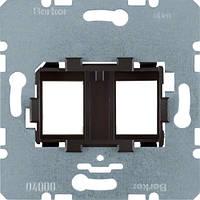 Опорна пластина для модульних роз'ємів з коричневою вставкою, 2-кратна  (454107)