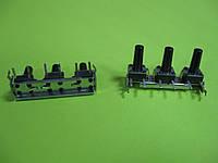 Три кнопки тактовые 6x6x12 mm SMD 3pin на планке