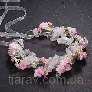 Свадебный венок на голову София нежно-розовый веночек свадебные украшения