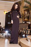 Стильное  трикотажное платье в пол, батал, со стразами, цвет шоколад. Арт-2191/57