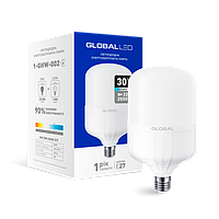 Светодиодная лампа GLOBAL (MAXUS), 30W, 6500К, холодного свечения, цоколь - Е27, 1 год гарантии!