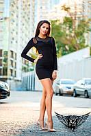Короткое Платье с сеткой и гипюро сверху  черное