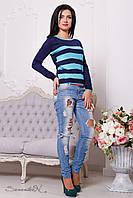 Трикотажный темно-синий женский свитер 2089 Seventeen 42-44 размеры