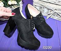Ботиночки  на  шнурках,  квадратный  каблук  10 см замш, черный эко замш