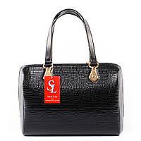 Деловая женская сумка черный лаковый питон