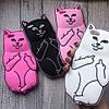 Силиконовый чехол кот с факами для iPhone 6/6s
