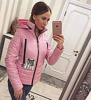 Куртка женская стильная осенняя К 351-L розовая