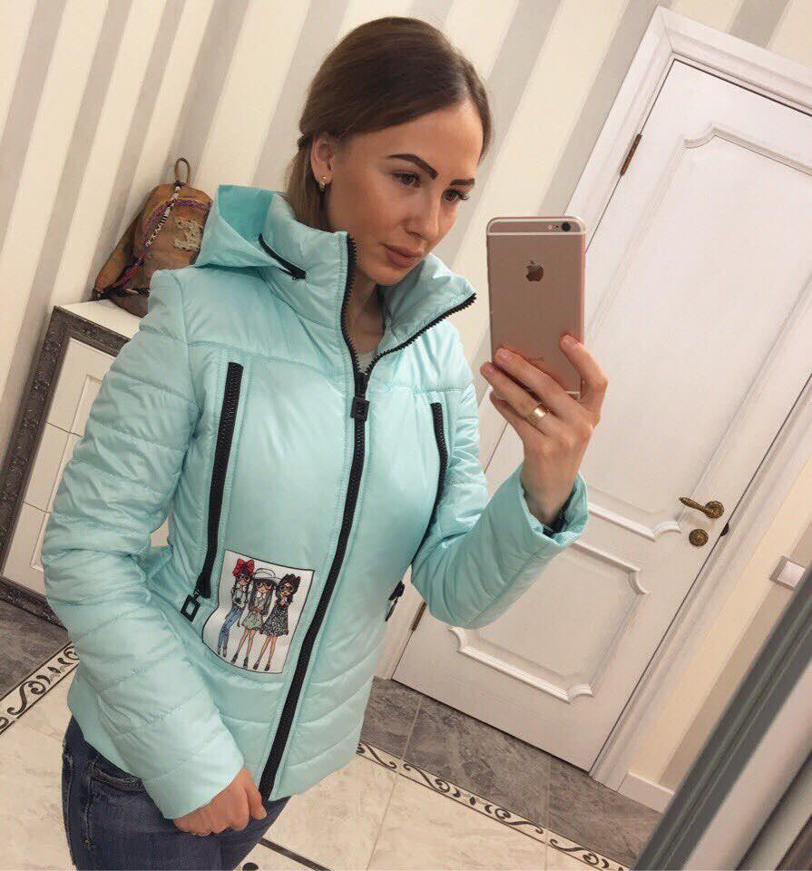 Куртка женская стильная весенняя К 351-L мята