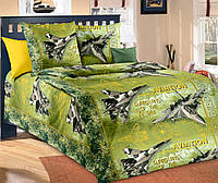 Подростковое полуторное постельное белье с простыню на резинке 90*200*25-Стражи неба зел.,бязь ГОСТ